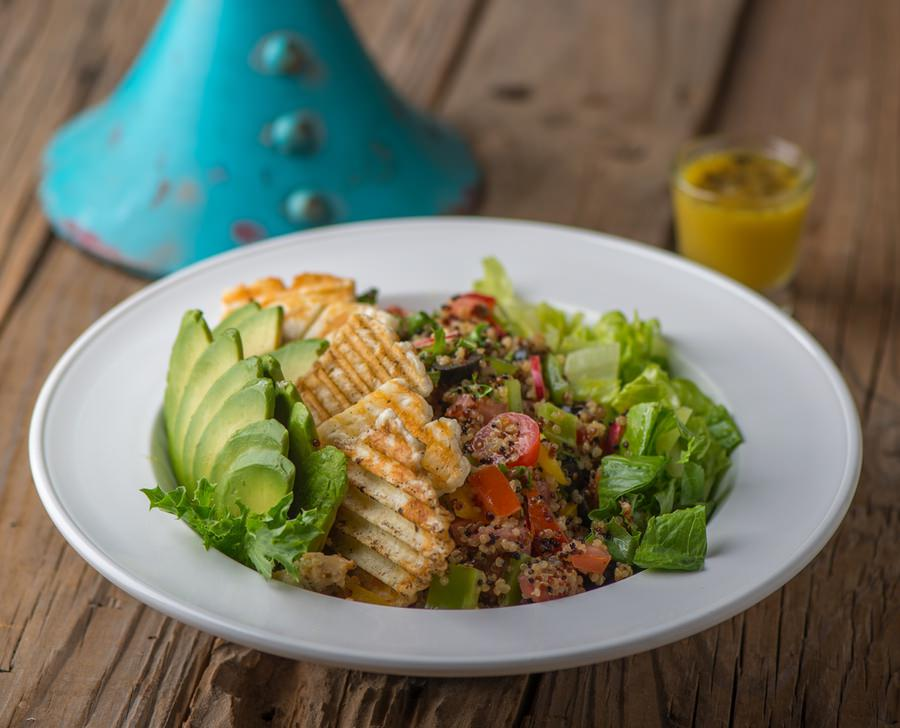 Quinoa Avocado Halloumi Salad