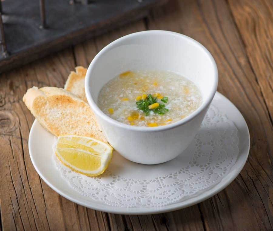 Chicken & Cron Egg Drop Soup